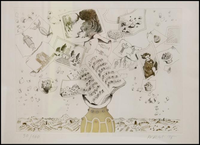 Tullio Pericoli - L'elisir d'amore - Acquaforte e acquatinta - 1995 - lastra 435 x 330 mm - Esemplare 30 tiratura 100 + 2 prove colore - firmata e numerata - Su carta Hahnemüle - Stamperia Giorgio Upiglio Milano