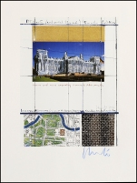 Christo - Wrapped Reichstag, Project for Berlin - Collage 1994 - Schumacher Edition Fils, Dusseldorf - Tiratura sconosciuta - firmata a matita in basso a destra