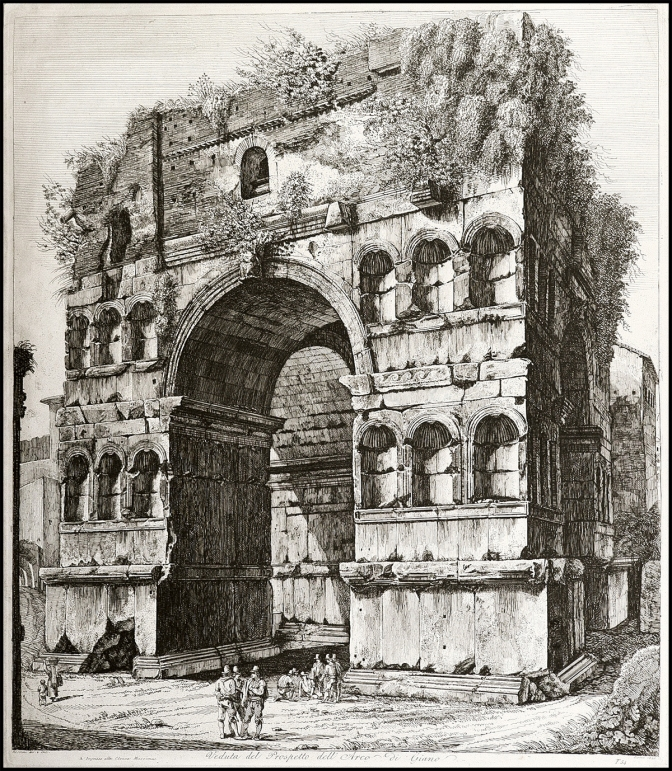 Luigi Rossini - Veduta dell'ingressso dell'arco di Giano - 1820