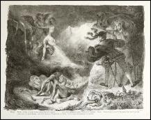 Eugene Delacroix - L'ombre de Marguerite apparissant à Faust - 1828 - Litografia - Edita da Vayron, Paris