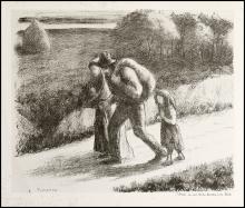 Camille Pissarro - Les Trimardeurs - 1896 - Litografia - 8 prove di stampa numerate - Tiratura definitiva 13 su carta Ingres e 300 su Holland paper - V Stato su V - Pubblicata da Les Temps Nouveaux