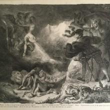 Eugène Delacroix - L'ombre de Marguerite apparissant à Faust - 1828 - Litografia - Illustrazioni del Faust di Goethe, tav.15 della serie di 17 - Edizione francese di Vayron