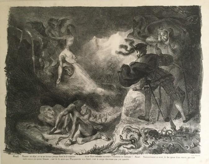 Eugène Delacroix - L'ombre de Marguerite apparissant à Faust - 1828