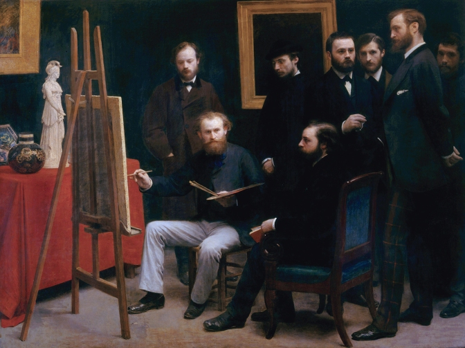 A studio in the Batignolles, by Henri Fantin-Latour