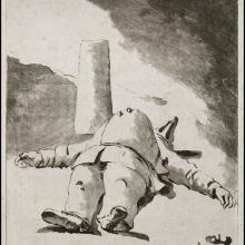 Jean-Claude Richard de Sain Non - Punchinello couché - 1765 - maniera a lavis - Tav.91 della serie Recueil de Grifonis....- 1778 (?) - su carta vergellata con filigrana IHS sormontata da croce dentro un cerchio - lastra mm 146 x 193