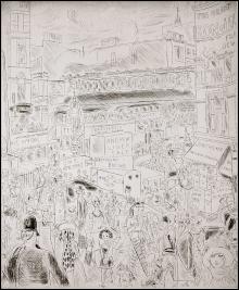 Chas Laborde - Ludgate Circus - 1928 - Acquaforte - Appartenenti alla serie di 21 pubblicate in Rues et visages de Londres - Con testo di Mac Orlan - stampato in proprio in 121 esemplari su Papier Rives - lastra mm 234 x 282 - foglio mm 320 x 405