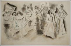 Chas Laborde - Quartier italien - acquaforte e acquatinta a colori - 1932 - appartenente alla serie di XV incise nel 1950 da Lacourier su disegni originali di Laborde per Rues et visages de New York - tiratura 230 esemplari su vélin d'Arches