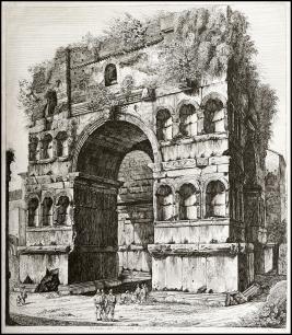 Luigi Rossini - Veduta dell'arco di Giano - 1820