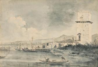 Ignoto - acquarello e inchiostro - da La torre di Malghera di Canaletto