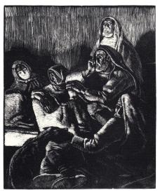 Nella capanna - 1934 - xilografia