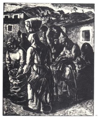 Mercato - 1937 - xilografia