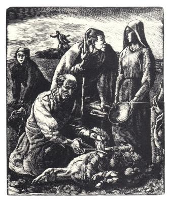 La tosatura - 1937 - xilografia