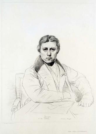 Autoritratto di Jean Auguste Dominique Ingres, da un disegno di Ingres inciso da Luigi Calamatta