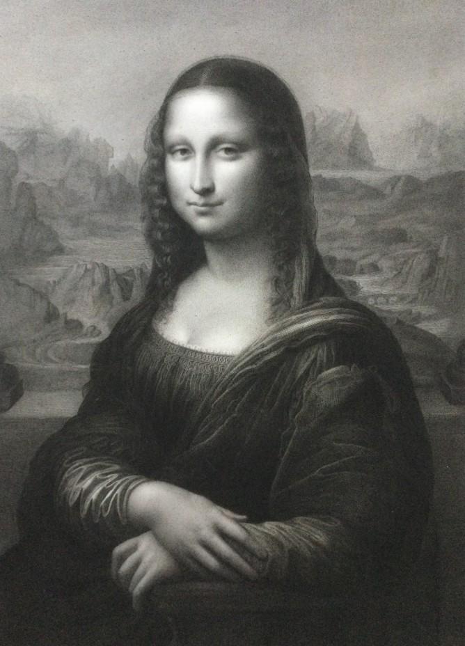 Luigi Calamatta - Lisa Gioconda - 1855 - Bulino, acquaforte e puntasecca - mm 377x276 - carta chine applicata su foglio pesante - esemplare ante litteram
